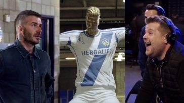 David Beckham Remained Surprisingly Calm During James Corden's Savage Statue Prank