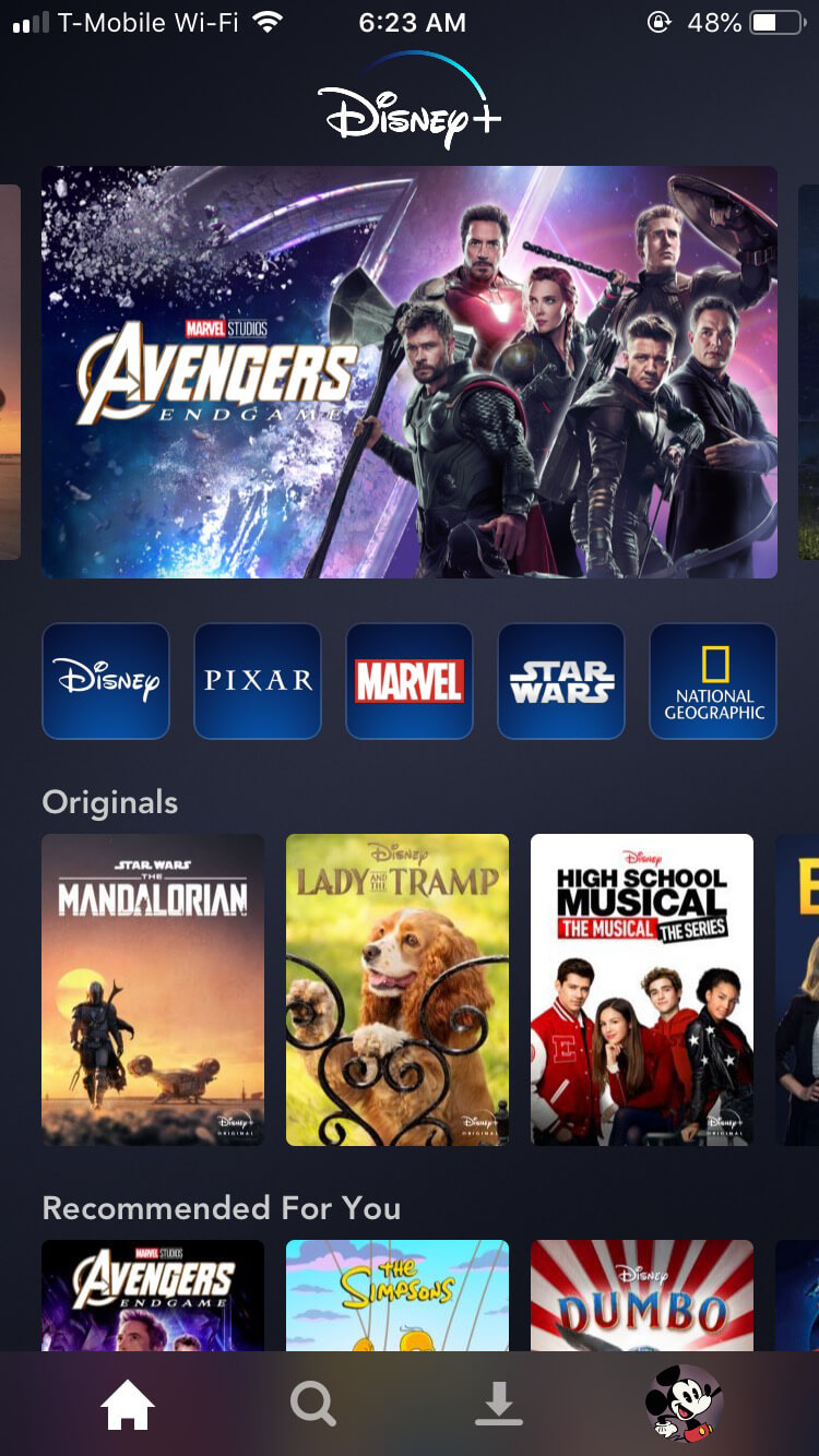 Disney+ Home Screen