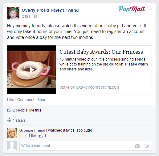 Annoying Facebook Friends: Overly Proud Parent Friend