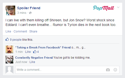 Annoying Facebook Friends: Spoiler Friend