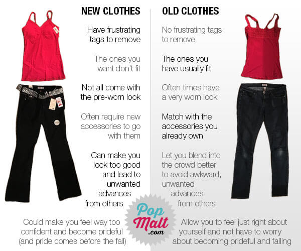 New clothes will just become old clothes, so why worry yourself?