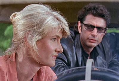 Fun fact: Jeff Goldblum and Laura Dern actually dated for a year or two after filming Jurassic Park together.