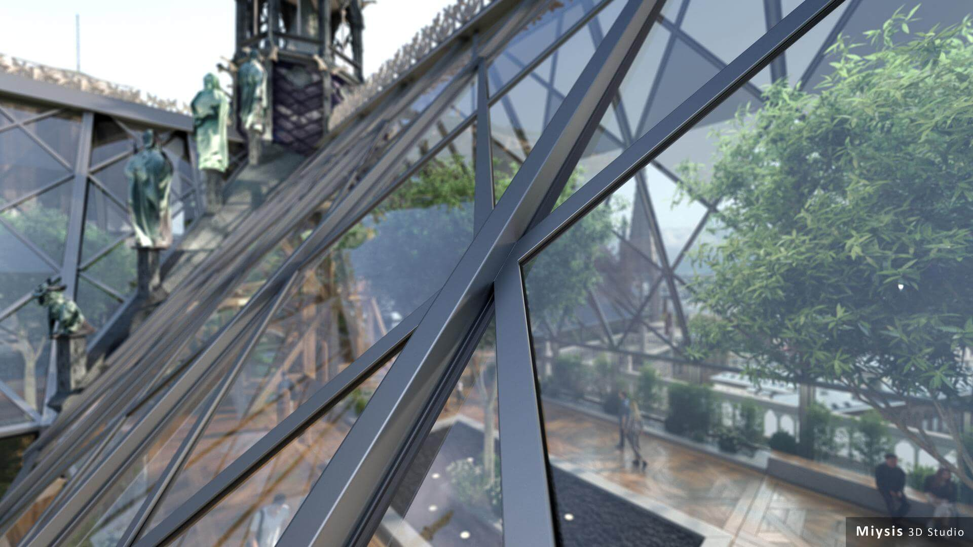 """Notre Dame de Paris glass roof"" render by Miysis 3D."