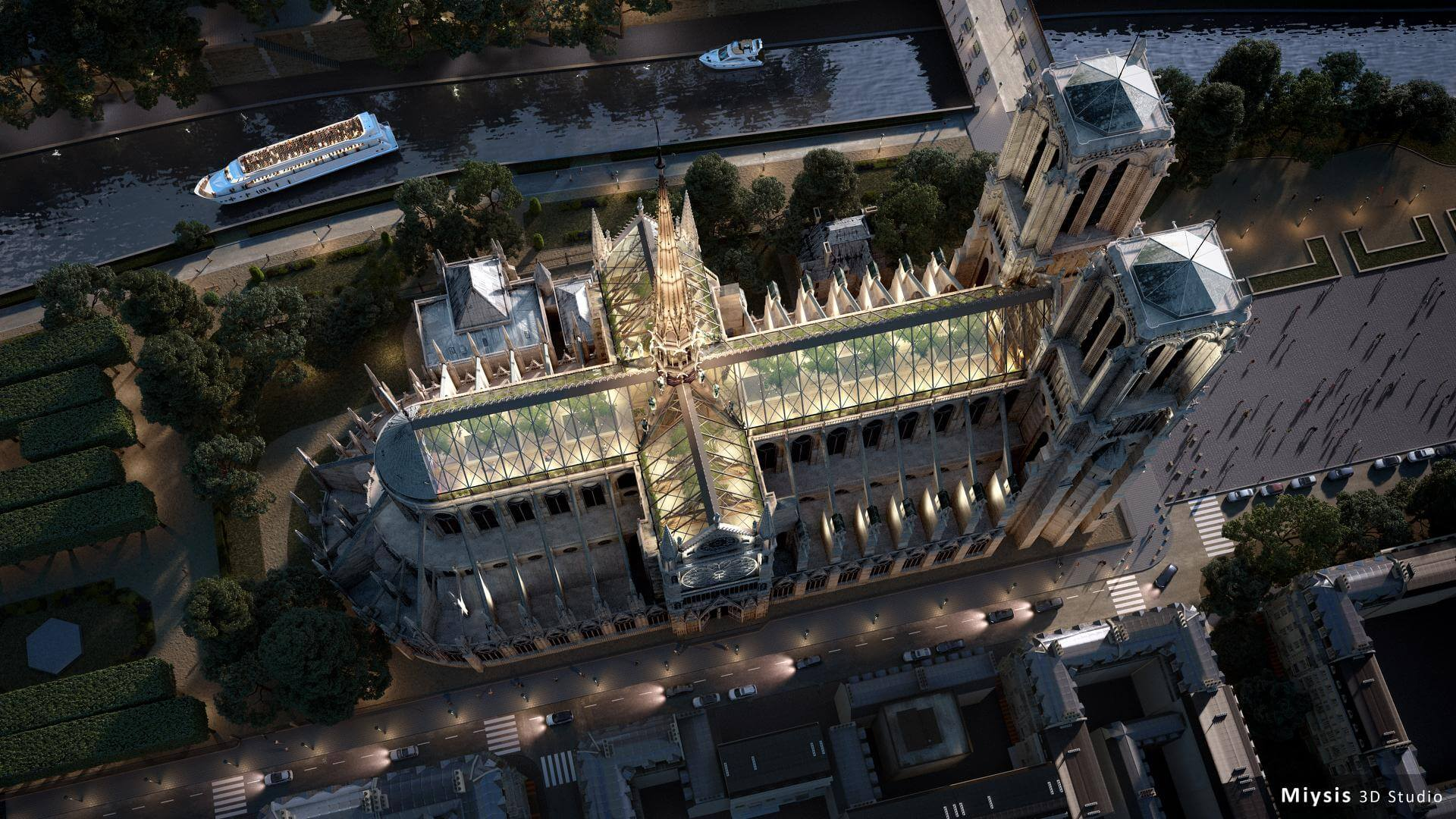 """Notre Dame de Paris aerial view"" render by Miysis 3D."