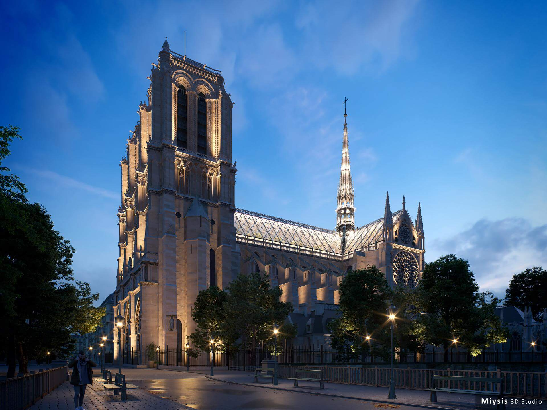 """Notre Dame de Paris night view"" render by Miysis 3D."