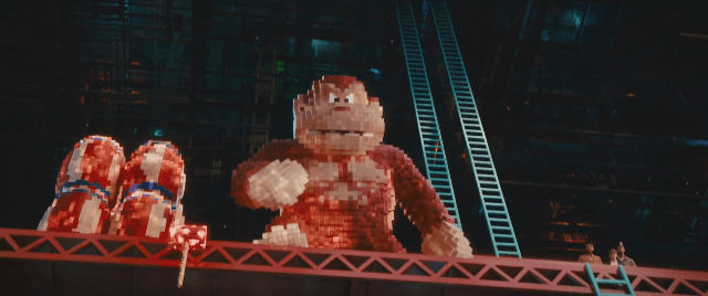 Donkey Kong prepares to hurl barrels at our heroes