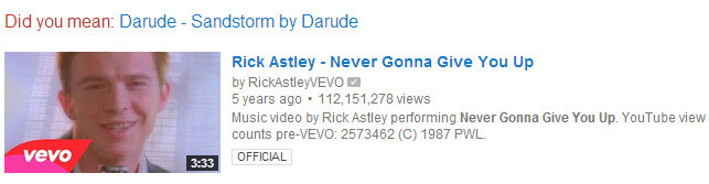 No search is safe. YouTube thinks you want to listen to Sandstorm no matter what.
